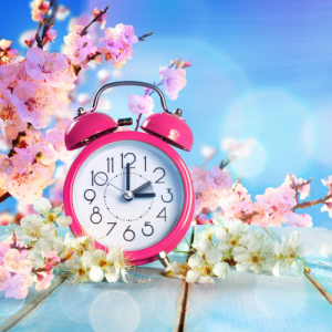 clock and flowers